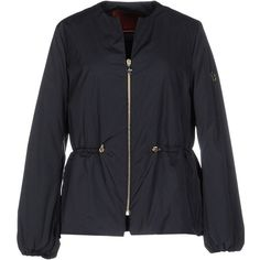 Moncler Gamme Rouge Down Jacket (£562) ❤ liked on Polyvore featuring outerwear, jackets, dark blue, down filled jacket, long sleeve jacket, zip jacket, moncler gamme rouge and down jacket