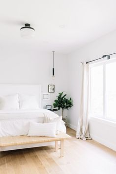 Before and After The Lady Laurier, master bedroom design - Home Decor -DIY - IKEA- Before After Bedroom Makeover Before And After, White Bedroom Design, White Bedroom Decor, Modern Bedroom Decor, Bedroom Black, Minimalist Room, Bedroom Design Minimalist, Minimalist Flat, Minimalist Home Interior