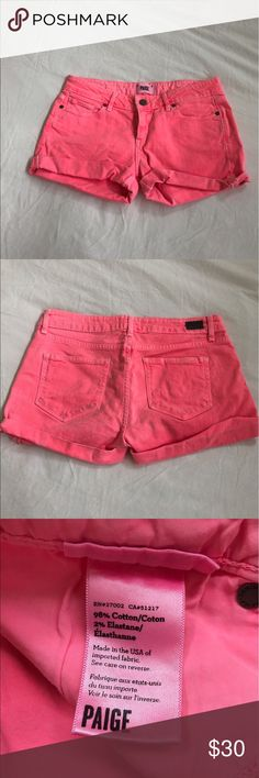 Paige neon pink jean shorts Perfect for summer! Bright pink denim shorts. Great condition, worn a couple of times. PAIGE Shorts Jean Shorts