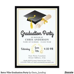 Retro Vibe Graduation Party Card - Host a graduation party with an invitation featuring a cap and diploma graphic and text that has a cool retro vibe. A black and gold border frames the design. This invitation works well for graduations at any school or university level.  Sold at Oasis_Landing on Zazzle.