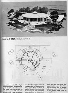 images about Mid Century Floor Plans on Pinterest   Home    Publication from Home Planners  Inc  Vacation Homes quot   ROUND HOUSE  I can spend hours and hours playing   my vintage building  design  and decorating