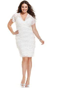 Marina Plus Size Dress, Cap-Sleeve Beaded Lace on shopstyle.co.uk