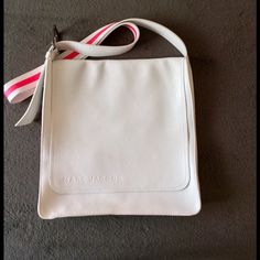 Messenger bag Gorgeous Marc by Marc Jacobs White Leather W/ Adjustable Hot Pink & White Strap Large Messenger/ Laptop Bag Preloved !! Been used gently only a  few times! Marc Jacobs Bags