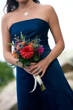 Singledom Street: How to Survive When Everyone's Getting Married. By Molly Ford for The Daily Muse. Two Piece Bridesmaid Dresses, Navy Blue Bridesmaid Dresses, Bridesmaid Flowers, Wedding Bridesmaids, Wedding Bouquets, Bridesmaid Ideas, Nautical Wedding, Floral Wedding, Wedding Flowers
