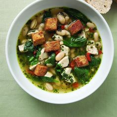 Swirl a simple homemade pesto into this chicken soup for extra mouthwatering flavor. #SoupsOn