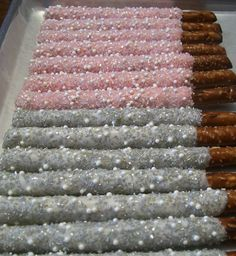 Silver and Pink with Pearls and Crystals ~ Chocolate Covered Pretzel Rods ~ Visit Marie Grahams on http://Etsy.com