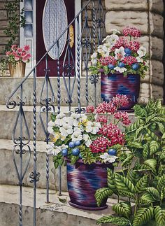 """""""Stone Steps at Buchart Garden's"""" by Mary Irwin Watercolor ~ 29"""" x 21"""""""