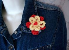 Knitted Flower Brooch Double daisy Orange & by thekittensmittensuk, £5.00