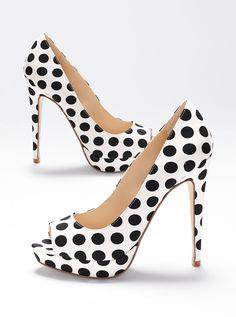 VS Collection Peep-toe polka dot pumps