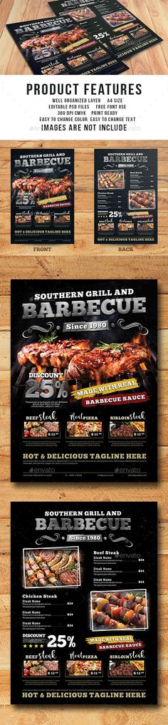 Grill Barbecue Restaurant Menu Template - Food Menus Print Templates Download here : https://graphicriver.net/item/grill-barbecue-restaurant-menu-template/18024411?s_rank=142&ref=Al-fatih