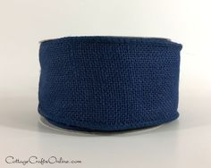 "Navy blue burlap ribbon, 2 1/2"" wide, with a wired edge, 100% natural jute, in stock and ready to ship from the CottageCraftsOnline shop on Etsy."