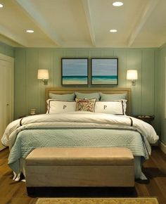 Love this for a beach themed bedroom. Simple! Add a few shells & viola!