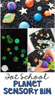This Glowing Planet Sensory Bin is super engaging. Perfect for tot school, preschool, or the kindergarten classroom. Planets Preschool, Space Theme Preschool, Planets Activities, Space Activities, Sensory Activities, Preschool Activities, Homeschool Kindergarten, Preschool Lessons, Preschool Crafts