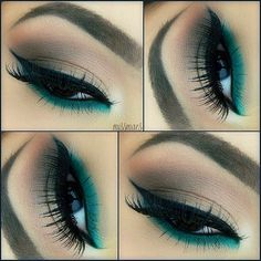 neutral eye with a pop of emerald eyeshadow. great way to wear Emerald! #emerald #beauty #makeup #tutorial