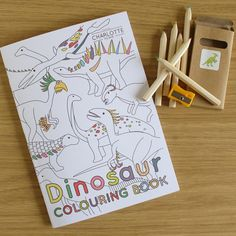 Dinosaur Colouring book by CharlotteFilshieUK on Etsy