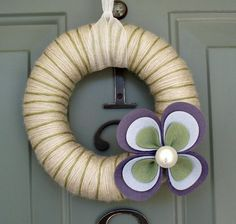 Yarn Wreath Felt Handmade Door Decoration  Large Flower by ItzFitz, $35.00