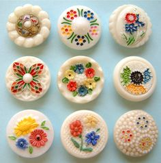 9 x 19mm Vintage Enamel Painted White & Cream Glass Buttons