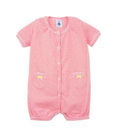 Combicourt bébé fille en coton milleraies à poches