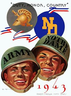 1943 Army Black Knights vs Notre Dame Fighting Irish 36 x 48 Framed Canvas Historic Football Poster Army Football, Notre Dame Football, College Football, Football Helmets, Football Stuff, Baseball, Football Program, Fighting Irish, Vintage Football