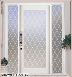 Orleans Leaded Glass Privacy - Shown in Frost Lead Lines.  Six Lead Line Colors to Choice From.