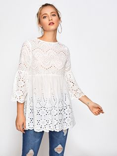 Shop Eyelet Embroidered Scallop Trim Smock Blouse at ROMWE, discover more fashion styles online. Peasant Tops, Tunic Tops, Fashion Corner, Blouse Dress, White Style, Sewing Clothes, White Tops, Blouse Designs, Smocking