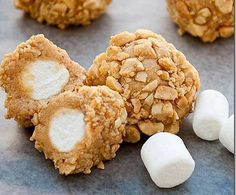 Marshmallows, peanut butter, rolled in nuts....