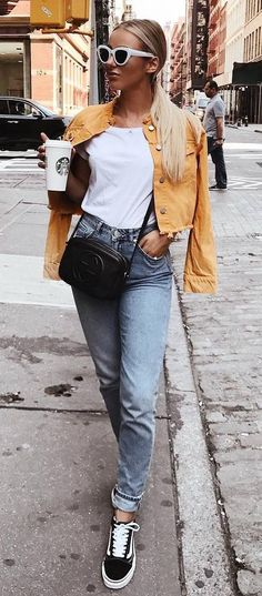 cute fall outfit / denim jacket + top + bag + jeans + sneakers