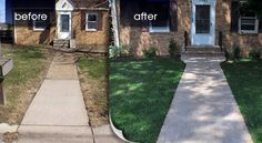 the house stays exactly the same, but the lawn is revived around new steps and walkway....such a simple but effective transformation to brighten up your entry!