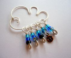 Knitting Stitch Markers With a Cloud Marker Keeper  by indigoDOT