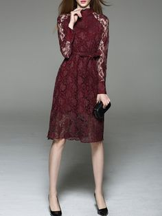 Burgundy Lace Plain A-line Long Sleeve Midi Dress