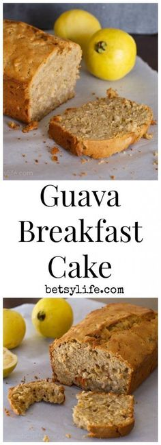 This tropical and fruity Guava Breakfast Cake doubles as breakfast or dessert! It's moist, light, and delicious, and perfect for guava newbies. Cuban Recipes, Fruit Recipes, Baking Recipes, Cake Recipes, Dessert Recipes, Bread Recipes, Guava Recipes Vegan, White Guava Recipes, Vegetarian Recipes