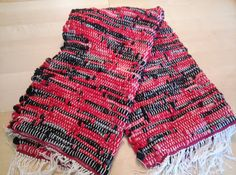 Woven Red and Black Rustic Rug, Runner, Sock material rug, Floor Rug Check out this item in my Etsy shop https://www.etsy.com/listing/186283376/woven-red-and-black-rustic-rug-runner