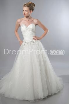 Luxurious  Ball Gown Sweetheart Floor-length Chapel Train Appliques Wedding Dresses 2014 New Arrival