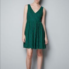 Zara cocktail dress. Emerald green lace dress. Worn once. Zara Dresses