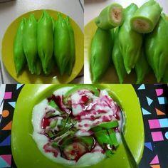 Buat kalian pecinta es pisang ijo, sudah pernah mencoba untuk membuat sendiri kuliner asal Makassar  - 506793 Snack Recipes, Dessert Recipes, Cooking Recipes, Healthy Recipes, Snacks, Indonesian Desserts, Indonesian Cuisine, Indonesian Recipes, Malay Food