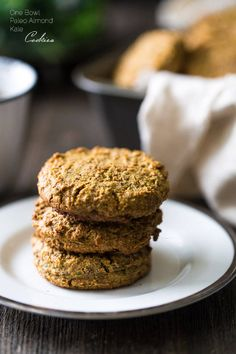 Paleo Breakfast Cookies with Kale - Made in the food processor for a quick, easy and healthy portable breakfast! You won't even know they have hidden veggies!   Foodfaithfitness.com   @FoodFaithFit
