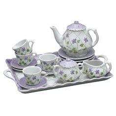 Andrea by Sadek Violet Polka Dot 18 Piece Child's Tea Set