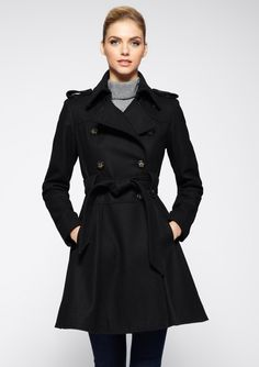 LAUNDRY BY SHELLI SEGAL  Belted Double-Breasted Coat