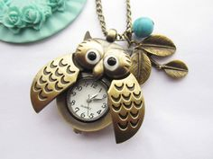 pocket watch--antique bronze owl pocket watch and leaves with blue turquoise,alloy chain necklace. $6.99, via Etsy.
