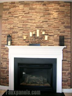 faux stone fireplace diy   DIY Stacked Stone Fireplace (First ...