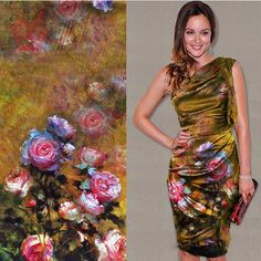 Luxury Brown floral inkjet positioning printing 100% silk fabric with spandex for spring/summer dress free ship SP1149