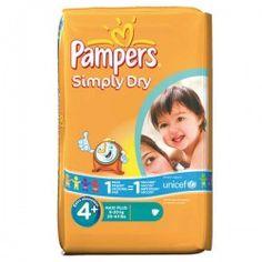 Pack d'une quantité de 44 Couches de Pampers Simply Dry de taille 4+ sur Les Looloos