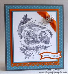 Merry_Monday_48:  I wouldn't have thought to put Pumpkin Pie, Marina Mist and Basic Gray together.  I love the effect and this is one of my favourite Christmas stamp sets :-)