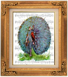 A Floral Fantasy, Bird Children, A Peacock, Victorian Giclee, Sheet Music Art, Book Art, Dorm Room, Wall Decor, Fantasy Wall Art, Nursery
