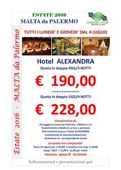 Malta da Palermo Hotel Alexandra-001 attenzione  dal 1° al 12 agosto abbiamo camere al Cavalieri Hotel****