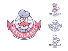 Restaurant logo template designed by Connect with them on Dribbble; Brand Identity Design, Logo Design, Branding Design, Graphic Design, Coffee Fonts, Chef Logo, Restaurant Logo, Logo Character, Cartoon Logo