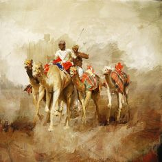 Camels And Desert 19 Painting by  Mahnoor Shah