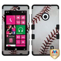 MLB+Baseball+TUFF+Hybrid+Protector+Phone+Case+Cover+for+Nokia+Lumia+521