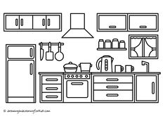 Coloring Page Kitchen | Drawing Kitchen Cabinets | Kitchen Coloring Page
