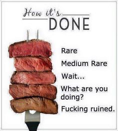 How to cook a steak or how not to cook a steak meme. It's ruined!